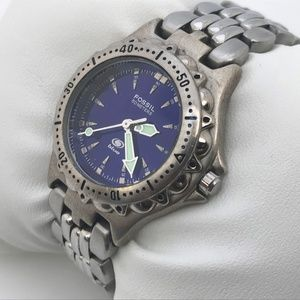 Fossil Blue Ladies Watch Silver Tone Analog Wrist
